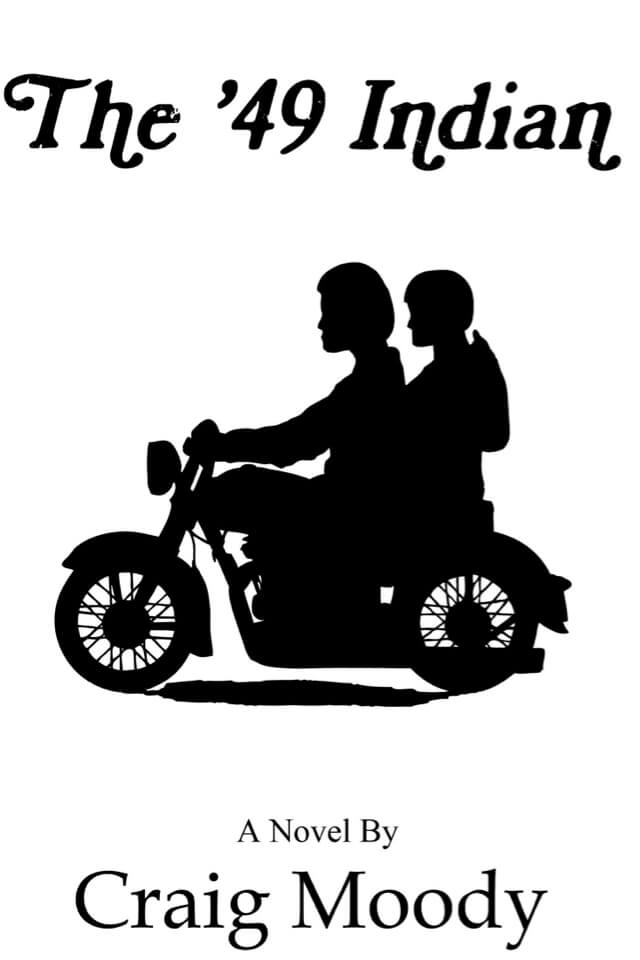 Book- The '49 Indian. Cover with shadow of two people riding a motor cycle.