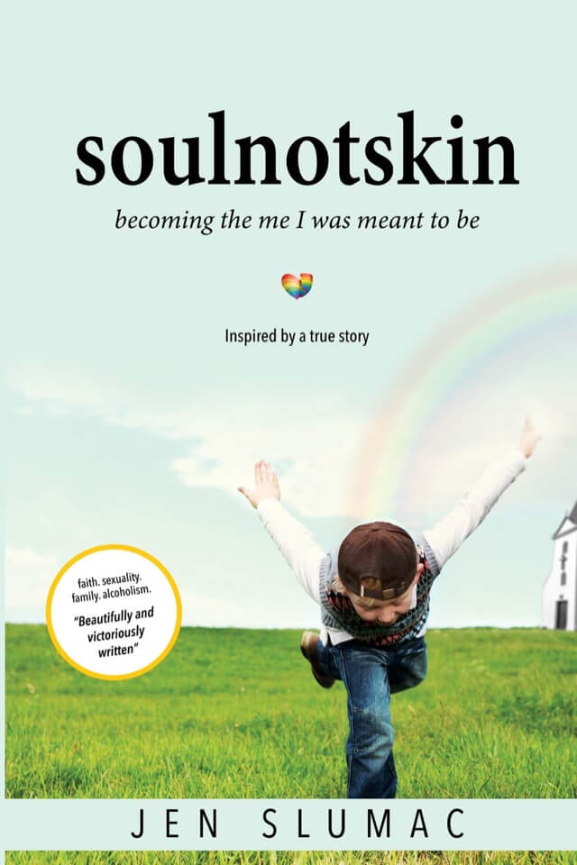Book- Soulnotskin becoming the me I was meant to be Young boy on cover with rainbow in back ground.