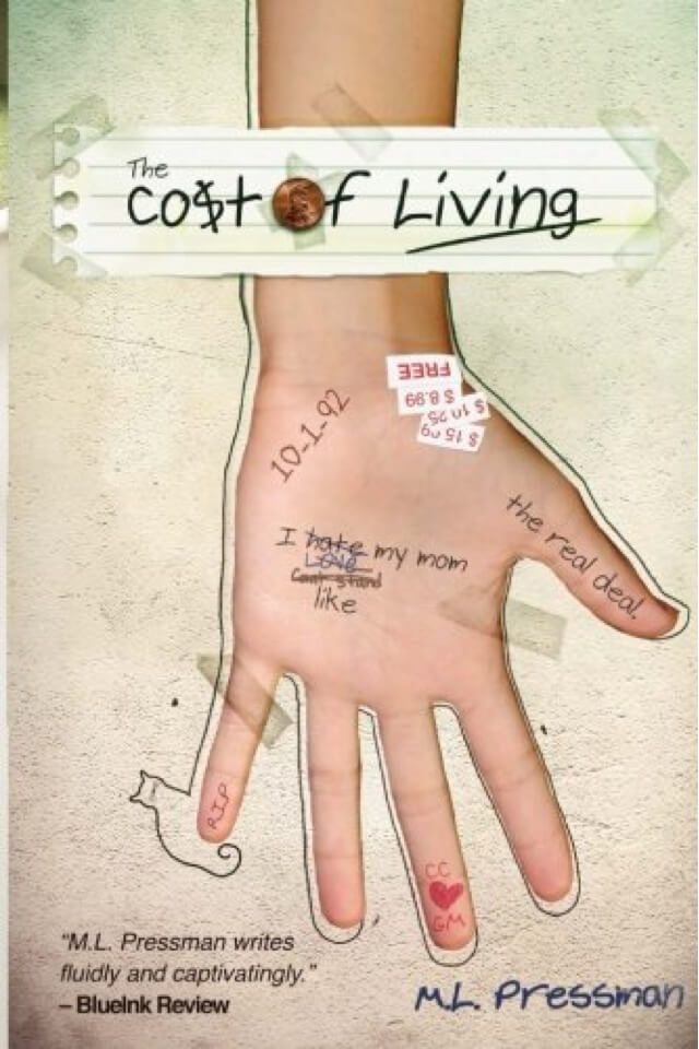 "Book- Cost of living. The ""O"" in ""cost"" is with a penny. Cover with hand, palm up, and with notes written on it."