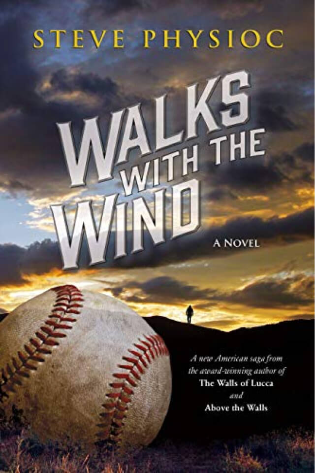 Book- Walks with the wind. Baseball on front with man in background walking on hill.